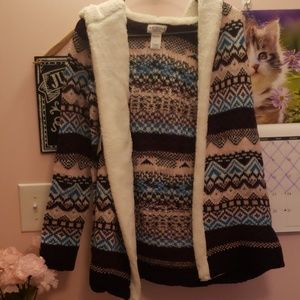 Aztec Patterned Cardigan with Hood